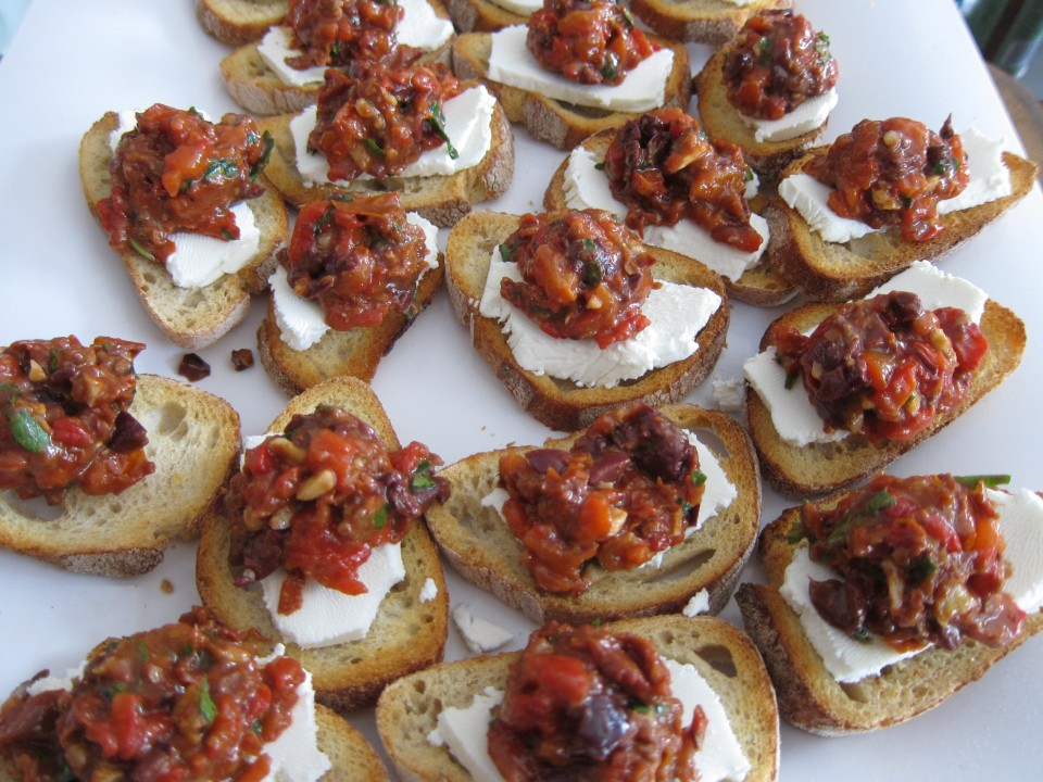 Roasted red pepper, sun-dried tomato tapenade