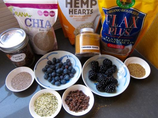 Yogourt, berries, flax seeds, hemp seeds, chia seeds, cocoa nibs, cinnamon