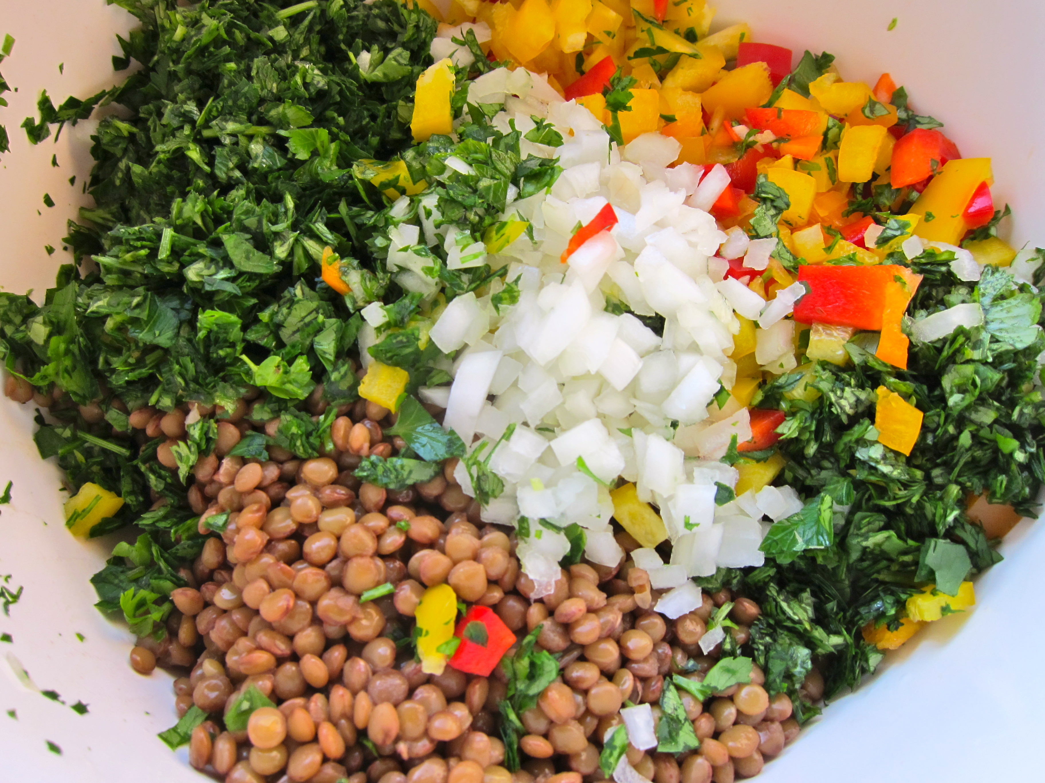 Lentils can be cooked in advance and cooled. Mix all the lentil salad ...