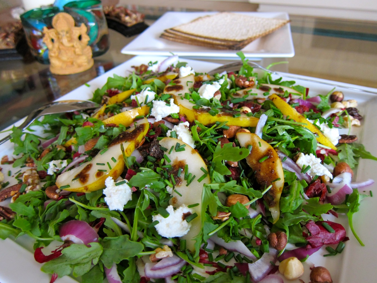 Arugula Radicchio Goat Cheese and Pear Salad