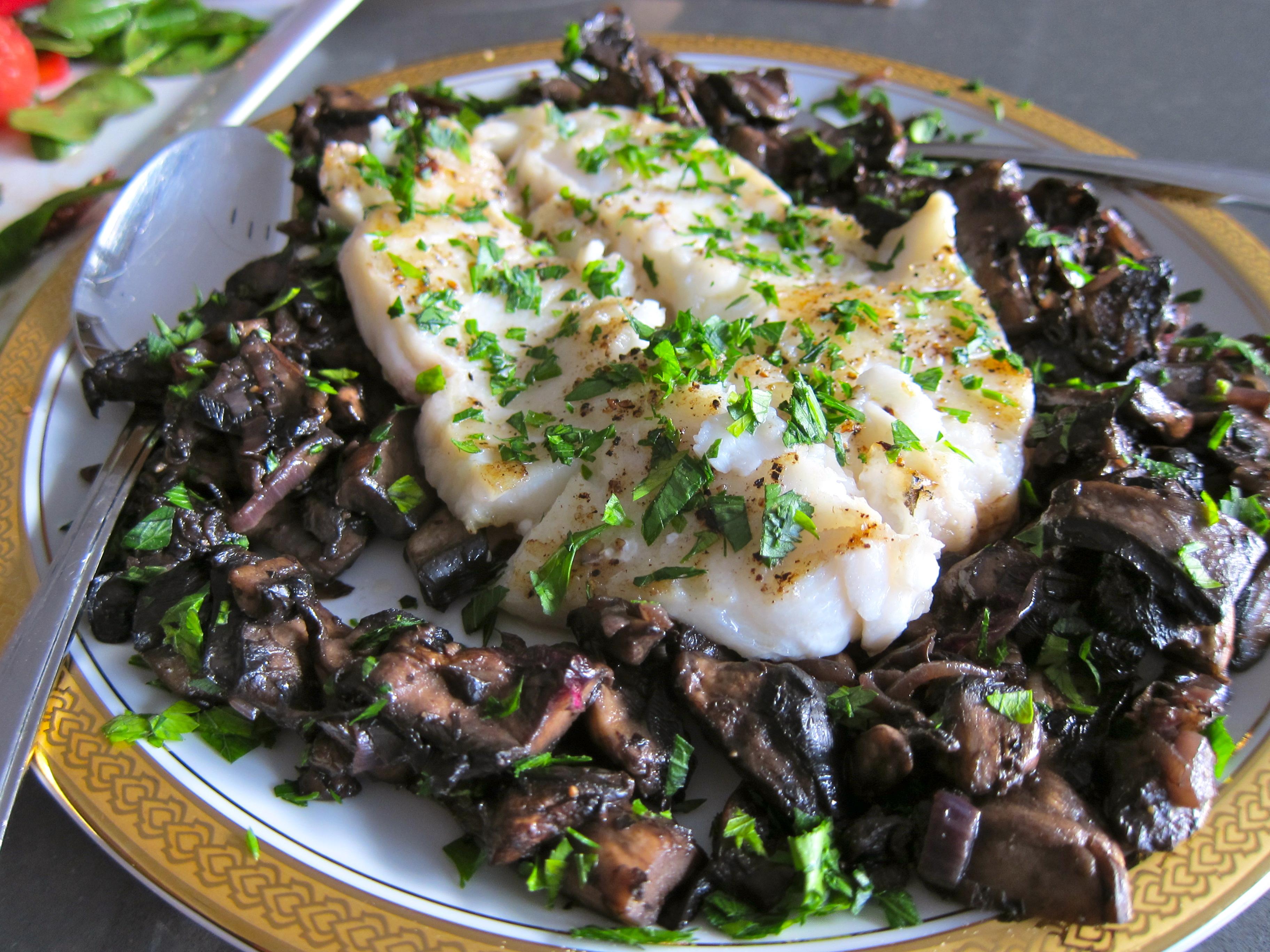 Pan Roasted Sea Bass with Portobello Mushrooms | BlogHer