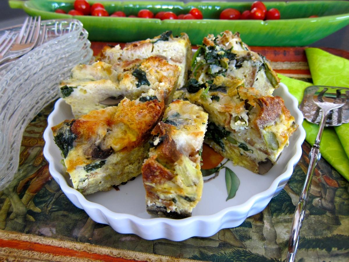 Spinach Mushroom Asparagus Strata