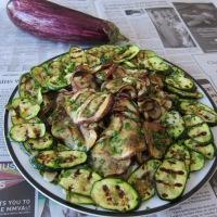 Marinated Grilled Vegetables & Grilled Green Polenta