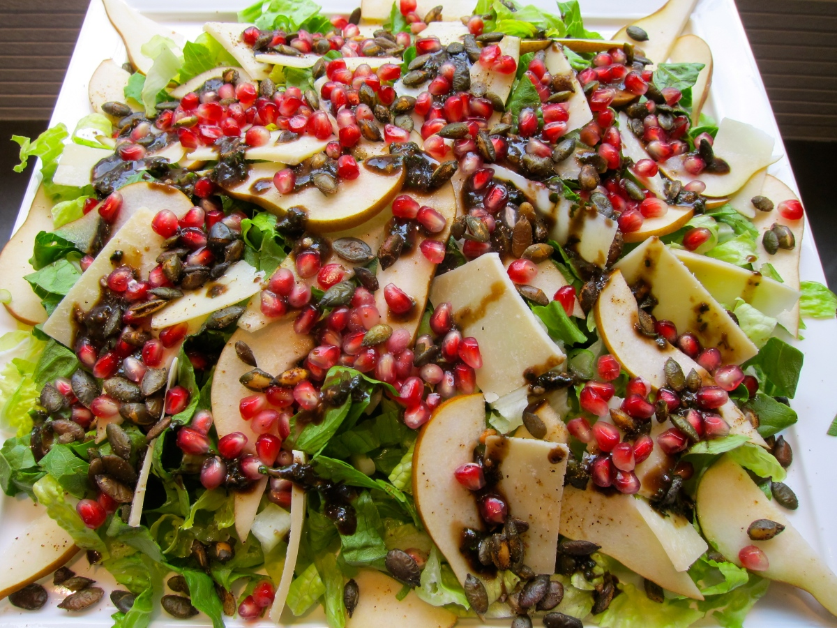 Caramelized Pumpkinseed Pear and Pomegranate - Big Salad