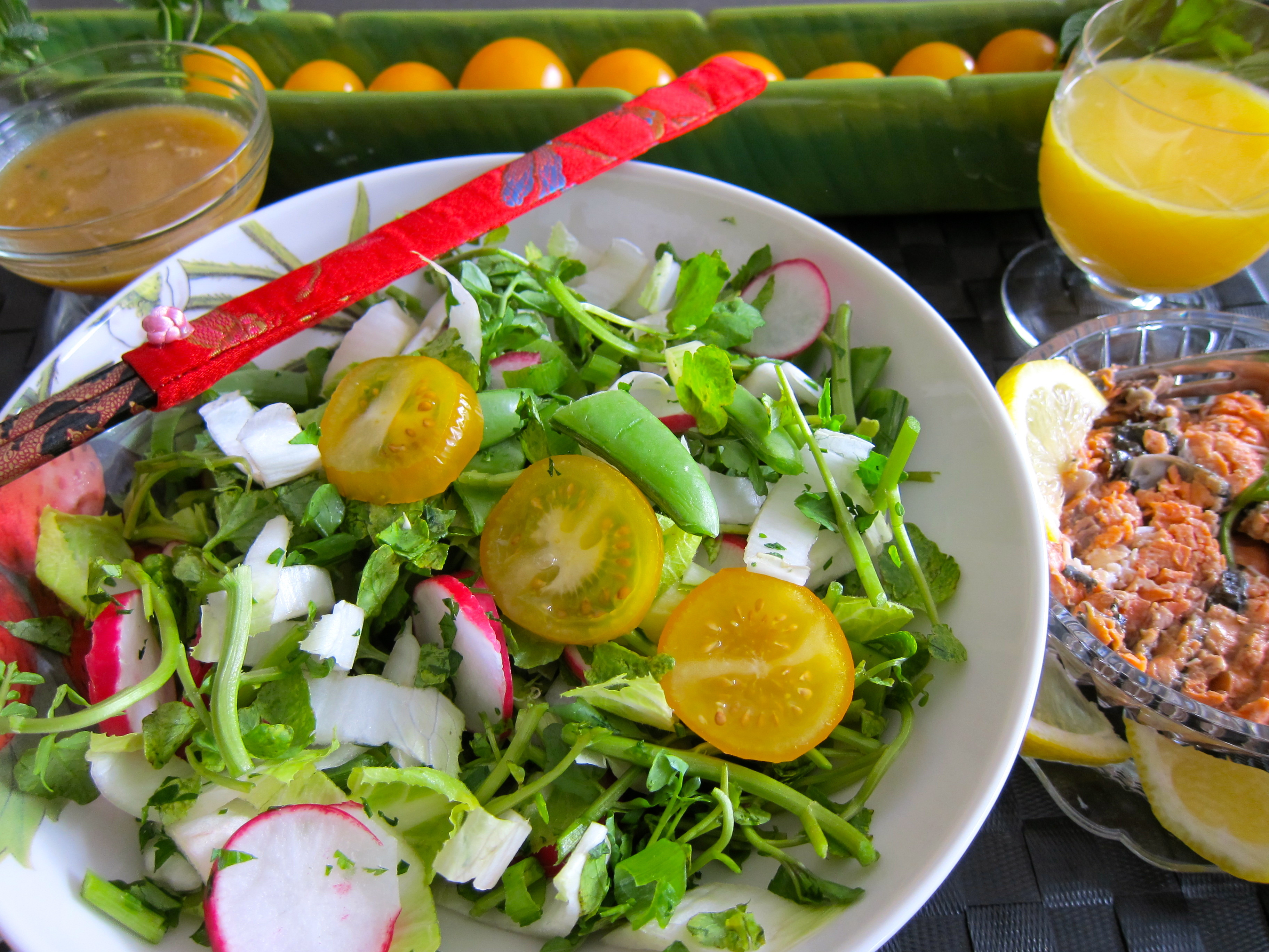 Orange Sesame Chopped Salad with Wild Salmon, Orange Sesame Chopped Salad, Orange Sesame Dressing, salad dressing, salad recipe, salad dressing recipe, healthy salad,
