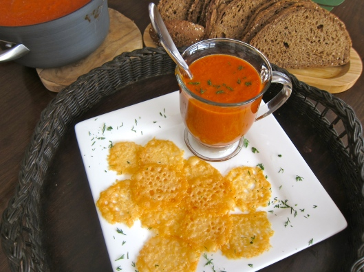Tomato Dill Bisque with Cheese Crisps