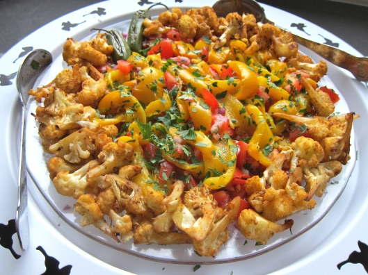 Roasted Yellow Pepper Salad with Roasted Cauliflower