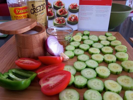 Tangy Gazpacho Cucumber Cups