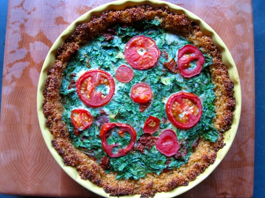 Quinoa Crust Quiche; Spinach, Shallot, Sun-dried Tomatoes, Tomato Slices