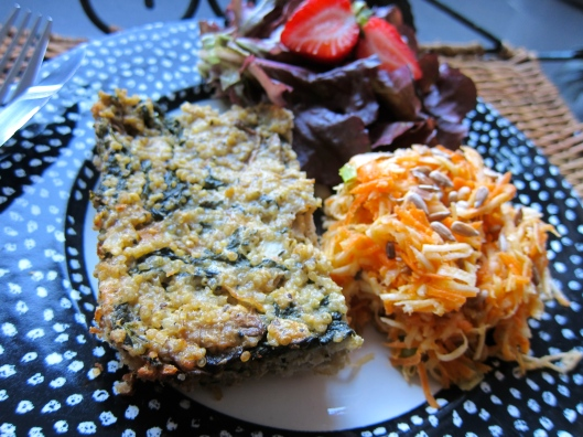 Hearty Kugel with Root Veggie Slaw