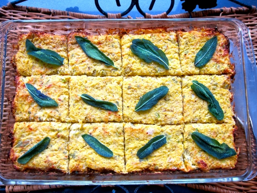 Squash Squares with Sage Crisps