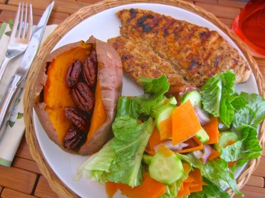 Honey Dijon Curry Chicken and Pecan Sweet Potato