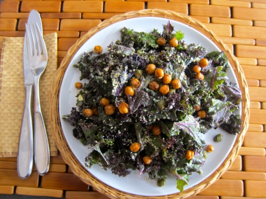 Kale Faux Caesar Salad with Roasted Chickpeas