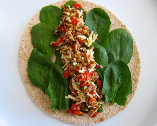 Spinach Lentil Wrap Salad