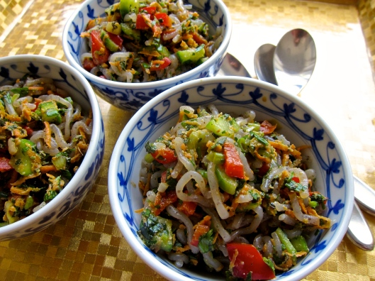 Herb Noodle Salad with Spicy Peanut Butter Dressing