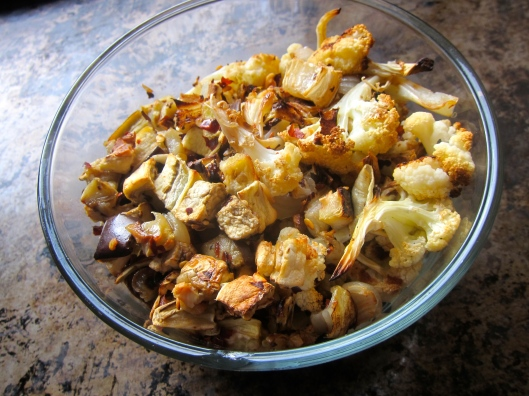 Spicy Roasted Cauliflower and Eggplant