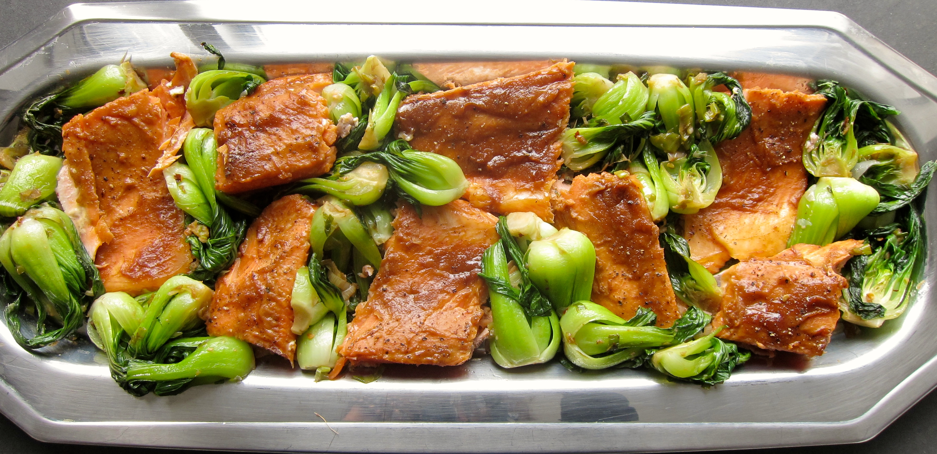 Hoisin Miso Salmon Trout with Baby Bok Choy