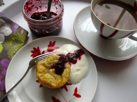 Cottage Cheese Muffin with Blackcurrant Jam