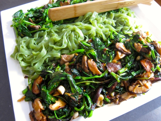 Spicy Shirataki Noodles with Chinese Greens